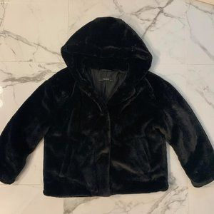 ZARA - Black Faux Fur Coat - Size M